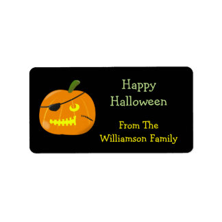 Halloween Pirate Pumpkin Kids Party Favor Gift Tag