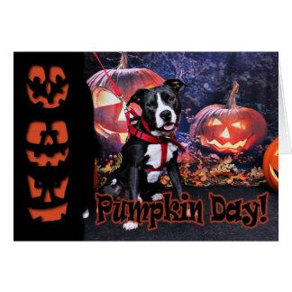 Halloween - Pitbull - Loki Greeting Card