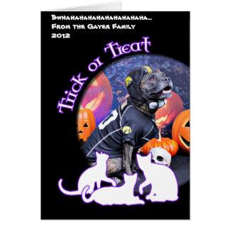 Halloween - Pitbull - Marley Greeting Card