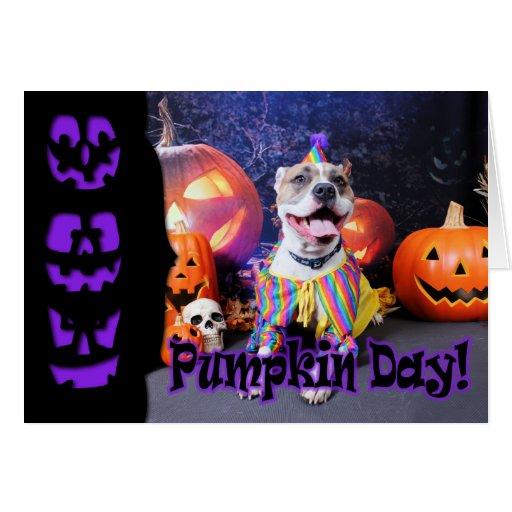 Halloween - Pitbull - Tyson Greeting Cards
