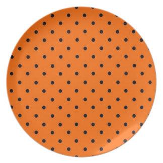 Halloween Plate Black Dots on Orange