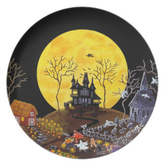 Halloween,plate,ghosts,haunted,house,witch Dinner Plates
