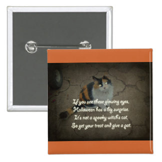 Halloween Poem - Calico Cat 2 Inch Square Button