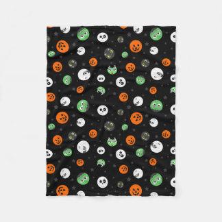 Halloween Polka Dot Faces Fleece Blanket