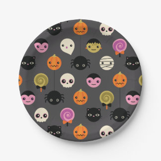 Halloween Polka Dots Pattern Paper Plate