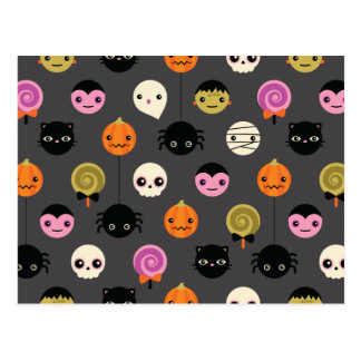 Halloween Polka Dots Pattern Postcard