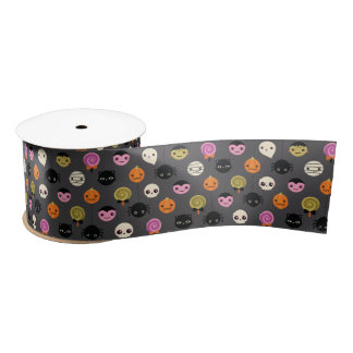 Halloween Polka Dots Pattern Satin Ribbon