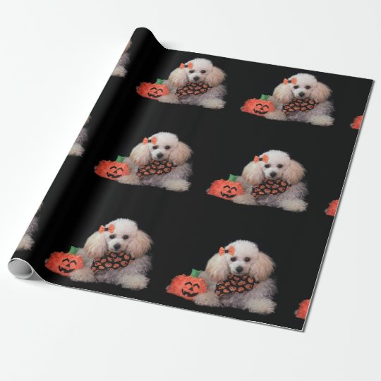 Halloween Poodle dog matte wrapping paper