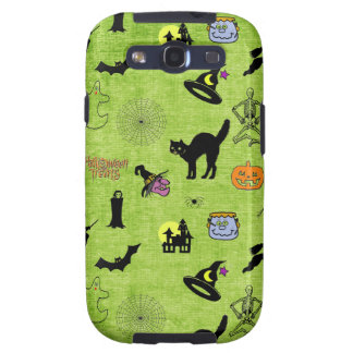Halloween Pop Art Collage on Textured Lime Green Samsung Galaxy SIII Cases