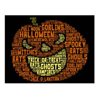 HALLOWEEN POSTCARD, Pumpkin Word Cloud Image Postcard