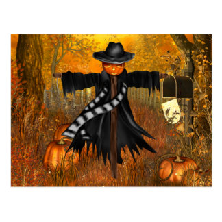 Halloween Postcard with Scary Scarecrow