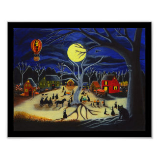 Halloween,poster,witches,horse,carriage,black,cats Poster