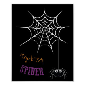 Halloween Poster with Spider Web