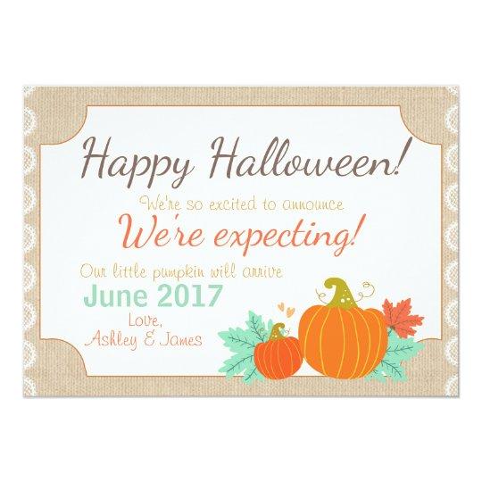 Halloween pregnancy announcement Pumpkin
