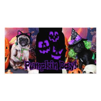 Halloween - Pug - Daisy Mae and Lily Lou Photo Card Template