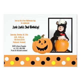 "Halloween Pumpkin 5x7 Photo Birthday Invitation 5"" X 7"" Invitation Card"