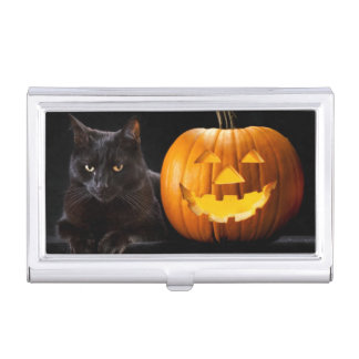 Halloween pumpkin and black cat business card holder