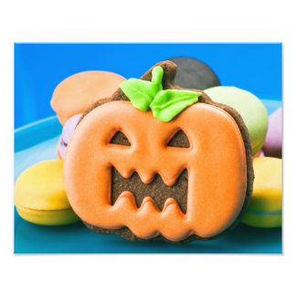Halloween pumpkin and colorful cookies photo print