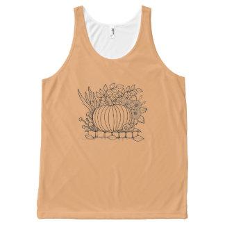 Halloween Pumpkin Black Line Art Design All-Over-Print Tank Top