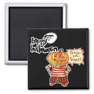 halloween pumpkin boy says trick or treat square magnet