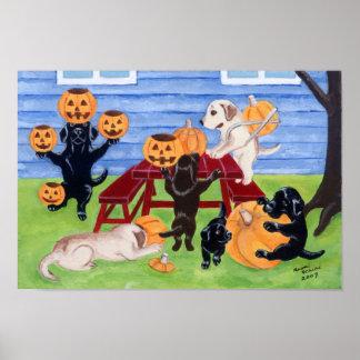 Halloween Pumpkin Carving Labradors Artwork Print