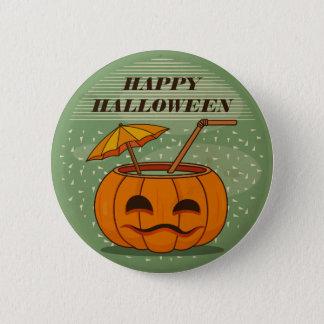 Halloween Pumpkin Drink Vintage   Pin Button