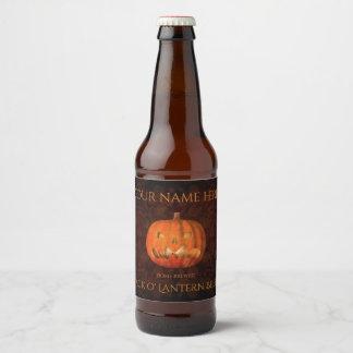 Halloween pumpkin elegant beer bottle label
