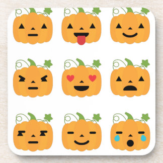 halloween pumpkin emojis beverage coaster