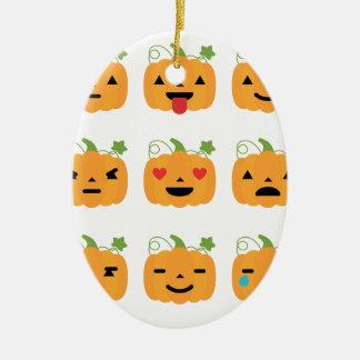 halloween pumpkin emojis ceramic ornament