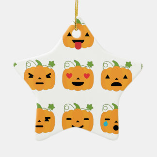 halloween pumpkin emojis ceramic star ornament