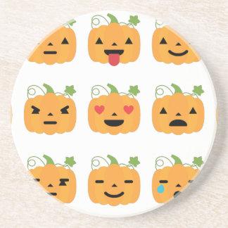 halloween pumpkin emojis drink coasters
