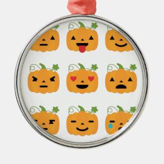 halloween pumpkin emojis metal ornament