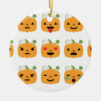 halloween pumpkin emojis round ceramic ornament