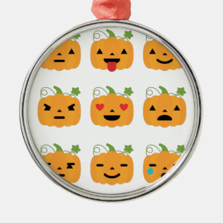 halloween pumpkin emojis Silver-Colored round ornament