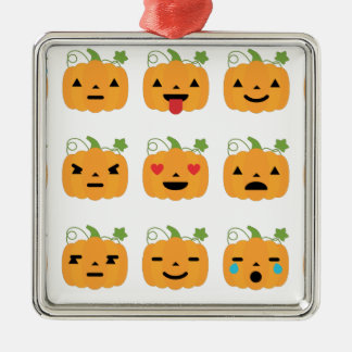 halloween pumpkin emojis Silver-Colored square ornament