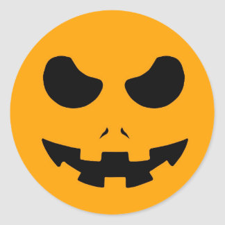halloween pumpkin evil face smile horror scary round sticker