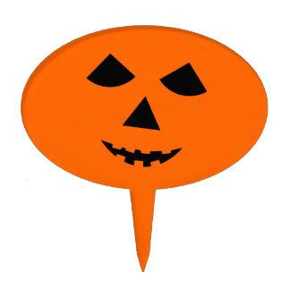Halloween Pumpkin Face Jack o Lantern Orange Cake Topper