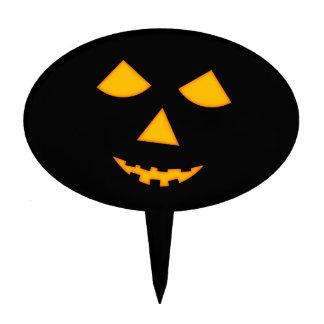 Halloween Pumpkin Face Lit Jack o Lantern Black Cake Picks