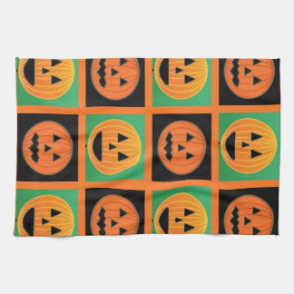 Halloween pumpkin face pattern kitchen towel