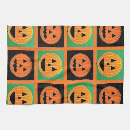Halloween pumpkin face pattern kitchen towel