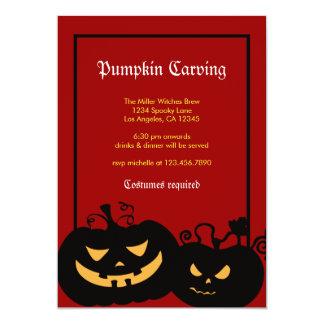 Halloween Pumpkin Faces Party Invitation
