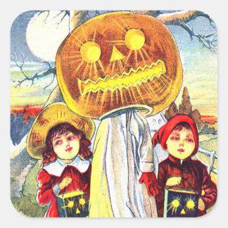 Halloween Pumpkin Ghost Square Sticker
