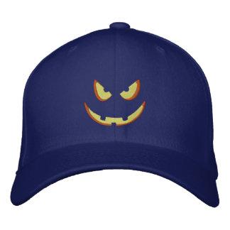 Halloween Pumpkin Grin Embroidered Hat
