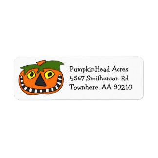 Halloween Pumpkin Head Jack O Lantern Return Address Label