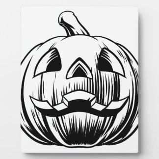 Halloween Pumpkin Illustration Plaque
