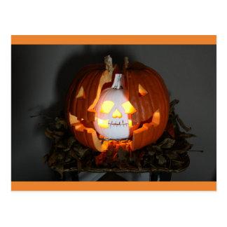 Halloween Pumpkin Jack O Lantern Skull Postcard