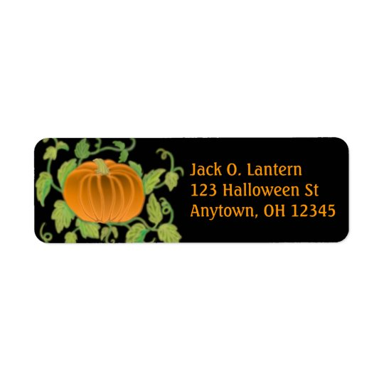 Halloween Pumpkin Label Return Address Label