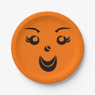 Halloween Pumpkin Lady Paper Plate