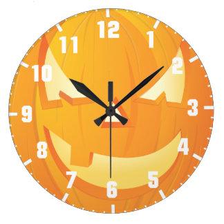 halloween pumpkin large clock