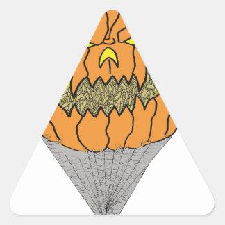 Halloween Pumpkin Maggot Spider Art Triangle Sticker